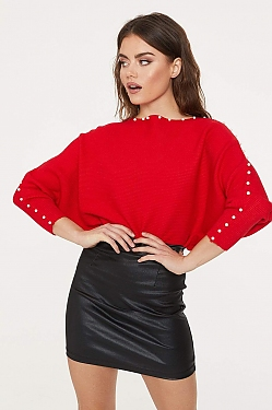 See Pearl Detailed Ribbed Knit Dolman Sleeve Sweater in Red