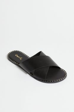 See Cross Band Mule Slide in Black