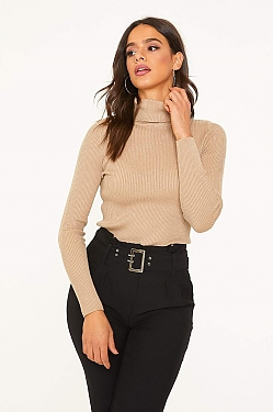 See Roll Neck Long Sleeve Ribbed Knit Top in Khaki