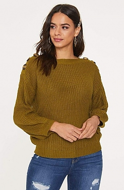 See Button Shoulder Knit Sweater in Moss