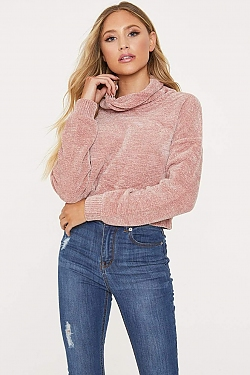 See Chenille Roll Neck Cropped Sweater in Blush