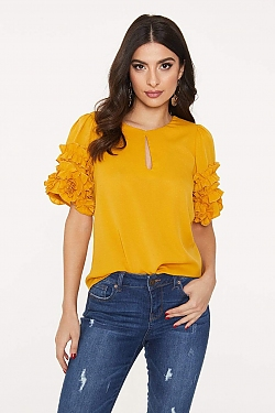 See Ruffle Sleeve Keyhole Neck Blouse in Mustard