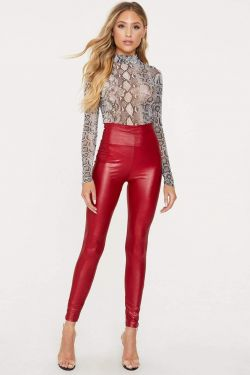 See High Waisted Faux Leather Leggings in Red
