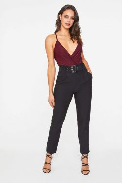 See Pleated Waist Belted Pant in Black