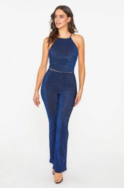 See Midnight Shimmer Tank and Pant Set in Black/Cobalt