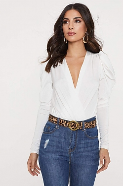 See Cascading Ruffle Puff Sleeve Cross Bodysuit in White