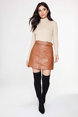 See Faux Leather Biker Belt Zip Skirt in Camel