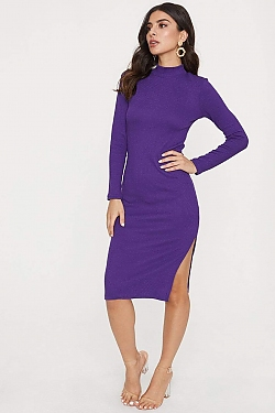 See Ribbed Knit High Neck With Side Slit Dress in Super Violet