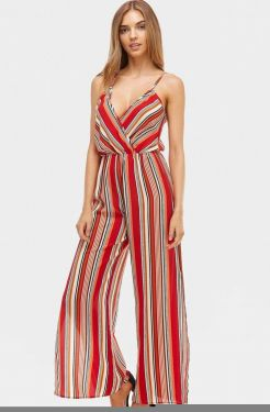 See Striped Slit Pant Jumpsuit in Red