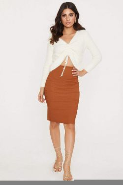 See High Waisted With Back Split Pencil Skirt in Cognac