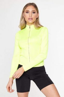 See Neon Sheen Zip Up Long Sleeve in Neon Yellow