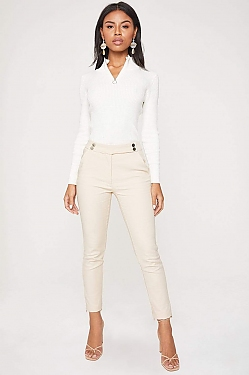 See Front Strap Tapered Cropped Trouser in Taupe
