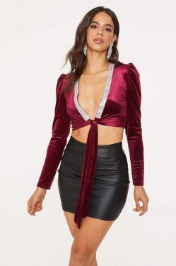 See Velvet Cropped Wrap Top With Rhinestone Trimmed Neck in Wine