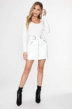 See Faux Leather Biker Belt Zip Skirt in White