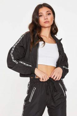 See Sporty Zip Up Windbreaker Jacket in Black