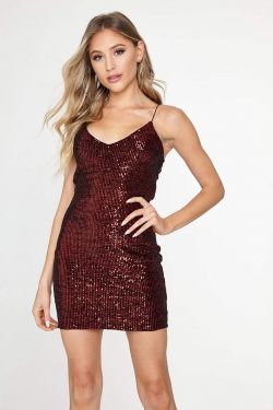 See Sequin Mini Cami Dress in Red