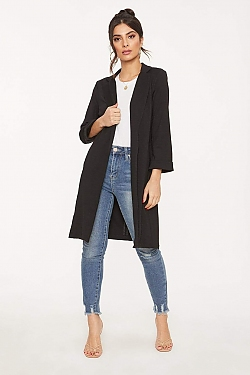 See Classic Cuffed Tailored Coat in Black
