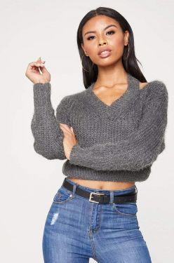 See Asymmetrical Shoulder Cut Out Eyelash Knit Sweater in Grey