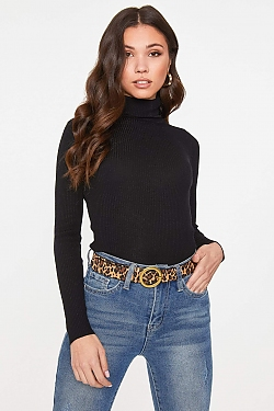 See Roll Neck Long Sleeve Ribbed Knit Top in Black