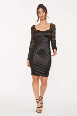 See Lace Long Sleeve Sweetheart Contrast Panel Dress in Black