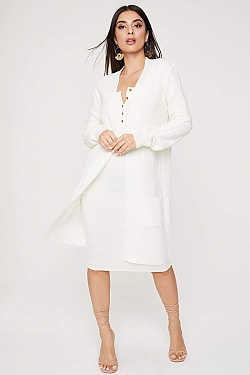 See Open Front Pocketed Long Sleeve Cardigan in Ivory