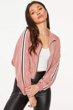 See Striped Sides Cropped Windbreaker Jacket in Mauve