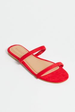 See Double Strap Flat in Red
