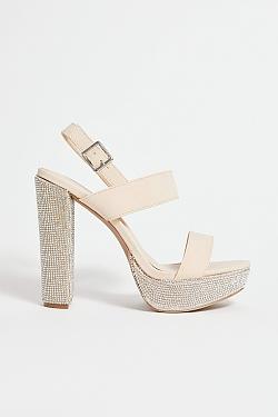 See Sparkle Platform Heel in Nude