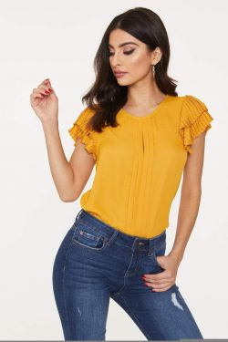 See Pleated Blouse with Pleated Ruffle Frill Sleeve in Mustard