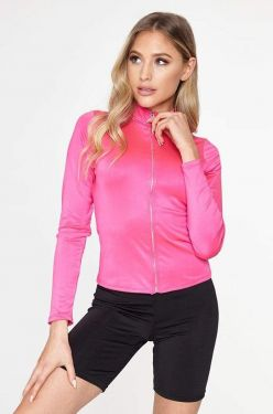 See Neon Sheen Zip Up Long Sleeve in Magenta