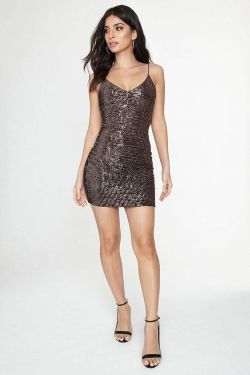 See Sequin Mini Cami Dress in Rose Gold