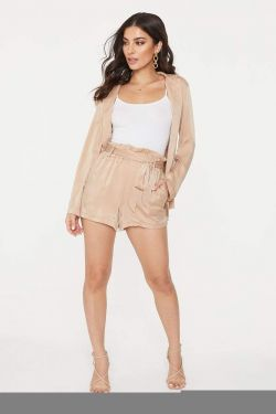 See Paper Bag Short With Front Tie in Taupe