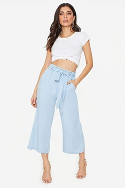 See Light Blue Relaxed Fit Cropped Pant in Light Blue