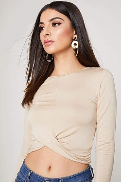See Draped Hem Long Sleeve Top in Desert