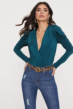 See Cascading Ruffle Puff Sleeve Cross Bodysuit in Hunter Green