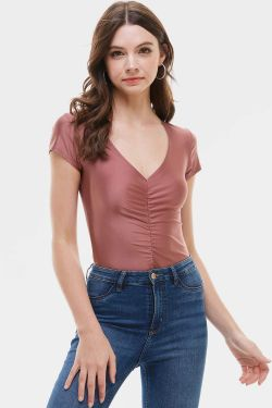 See Ruched High Sheen Bodysuit in Mauve