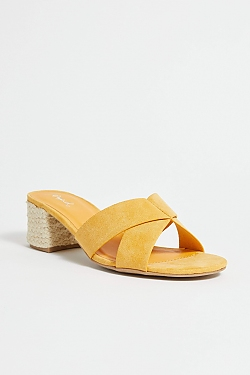 See Black Cross Strap Espadrille Mini Heel in Yellow