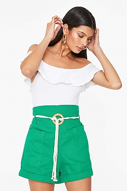 See Ultra High Waisted Belted Short in Taupe in Green