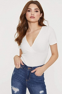See V-Neck Surplice Bodysuit in Soft White
