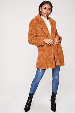 See Teddy Borg Coat in Cinnamon