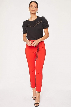 See Button Front Trouser With Braided Rope Belt in Red