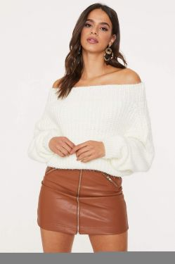 See Oversized Off-The-Shoulder Knit Sweater in Ivory