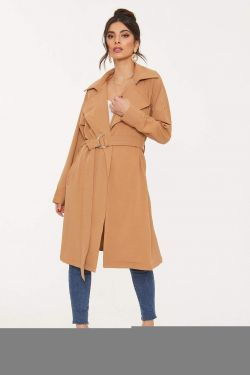 See O-Ring Belted Trench Coat in Camel