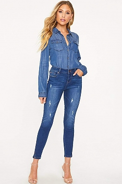 See Classic Distressed Ankle Grazer Skinny Jean in Medium Denim