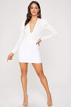See Stretch Bandage Mini Skirt in White