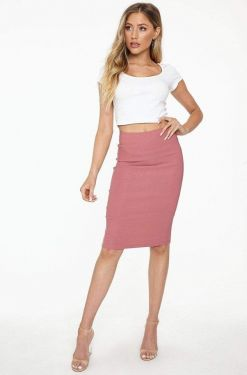 See Classic Midi Pencil Skirt in Antique Mauve