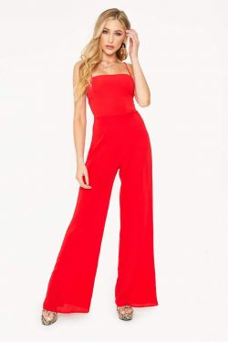See Tied Back Jumpsuit in Red