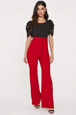 See Self Tie Sash Wide Leg Trouser in Red