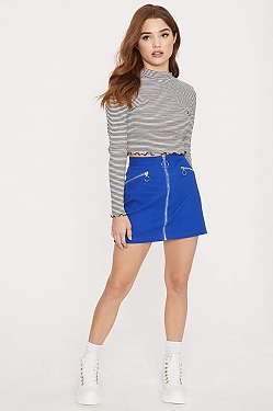 See Zip Off Mini Skirt in Royal Blue