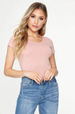 See Scoop Neck Cap Sleeve Tee Shirt in Mauve